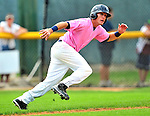 "18 July 2010: Vermont Lake Monsters outfielder Chad Mozingo in action against the Staten Island Yankees at Centennial Field in Burlington, Vermont. The Lake Monsters, dressed in their Breast Cancer Awareness ""Pinks"", fell to the Yankees 9-5 in NY Penn League action. Mandatory Credit: Ed Wolfstein Photo"