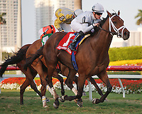 Doubles Partner with jockey Julien Leparoux winning the Canadian Turf(G3T) at Gulfstream Park. Hallandale Beach, Florida. 03-03-2012