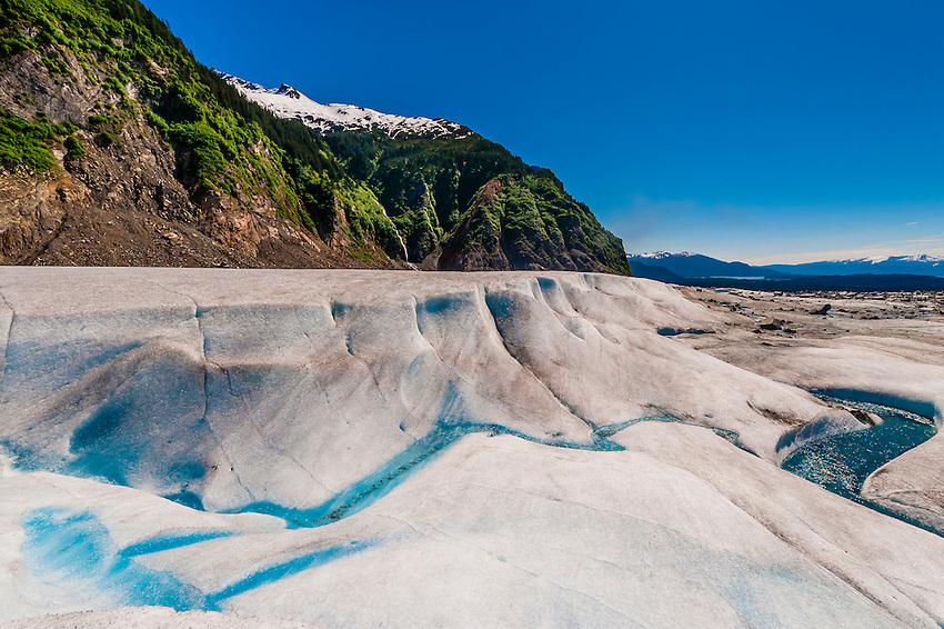 Meltwater pools on the Mendenhall Glacier, near Juneau, Alaska USA.