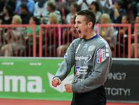 Handball 1. Bundesliga  2012/2013  in der Paul Horn Arena Tuebingen 15.09.2012 TV Neuhausen - Frisch Auf Goeppingen JUBEL Torwart Thomas Bauer (TV Neuhausen)