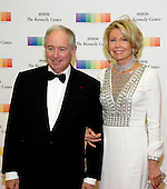 Chairman and CEO of the Blackstone Group Stephen A. Schwarzman and his wife, Christine, arrive for the formal Artist's Dinner honoring the recipients of the 39th Annual Kennedy Center Honors hosted by United States Secretary of State John F. Kerry at the U.S. Department of State in Washington, D.C. on Saturday, December 3, 2016. The 2016 honorees are: Argentine pianist Martha Argerich; rock band the Eagles; screen and stage actor Al Pacino; gospel and blues singer Mavis Staples; and musician James Taylor.<br /> Credit: Ron Sachs / Pool via CNP