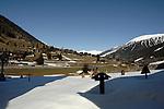 Village church yard in the village of Ritzingen in the Swiss alps- close to the Furkapass, Oberwald, Switzerland.