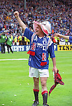 "Paul Gascoigne after the 1996 Scottish Cup final victory over Hearts at Hampden Park, wearing a ""Gazza's here for 10 in a row"" hat..Gazza was sold during the following season and Rangers missed out on 10 in a row."