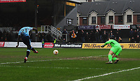 Blackpool's Bright Osayi-Samuel scores his sides third goal <br /> <br /> Photographer Kevin Barnes/CameraSport<br /> <br /> The EFL Sky Bet League Two - Saturday 18th March 2017 - Newport County v Blackpool - Rodney Parade - Newport<br /> <br /> World Copyright &copy; 2017 CameraSport. All rights reserved. 43 Linden Ave. Countesthorpe. Leicester. England. LE8 5PG - Tel: +44 (0) 116 277 4147 - admin@camerasport.com - www.camerasport.com