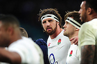 Tom Wood of England looks on in a post-match huddle. RBS Six Nations match between England and Italy on February 26, 2017 at Twickenham Stadium in London, England. Photo by: Patrick Khachfe / Onside Images