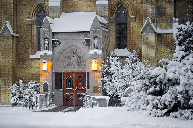 Jan. 22, 2013; Basilica East door after a snowfall...Photo by Matt Cashore/University of Notre Dame