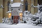 Jan. 22, 2013; Basilica East door after a snowfall...Photo by Matt Cashore/University of Notre Dame