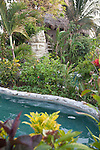 The gardens around the pool at Ramon's Village Resort in San Pedro, Ambergris Caye, Belize