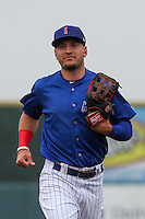 Iowa Cubs outfielder Albert Almora (6) jogs in from the outfield during a Pacific Coast League game against the Colorado Springs Sky Sox on May 1st, 2016 at Principal Park in Des Moines, Iowa.  Colorado Springs defeated Iowa 4-3. (Brad Krause/Four Seam Images)
