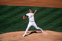 OAKLAND, CA - Mark Mulder of the Oakland Athletics in action during a game at the Oakland Coliseum in Oakland, California in 2002. Photo by Brad Mangin