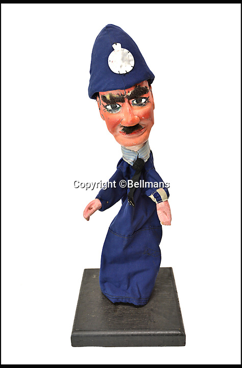 BNPS.co.uk (01202 558833)<br /> Pic: Bellmans/BNPS<br /> <br /> Gendarme.<br /> <br /> Beats Blackpool - Punch&amp;Judy puppets that graced Cannes on the Cote d'Azur in the 1960's for sale.<br /> <br /> A collection of vintage puppets made for a French Punch and Judy puppeteer over 50 years ago have emerged for sale.<br /> <br /> The 10 papier mache pieces include wife-beating Mr Punch, his long-suffering partner, the crocodile, the policeman and the judge.<br /> <br /> The collection is also made up of five lesser-known characters that feature in the seaside show.<br /> <br /> These are the Chinaman, the black man, the pirate, the chauffeur and the skeleton.