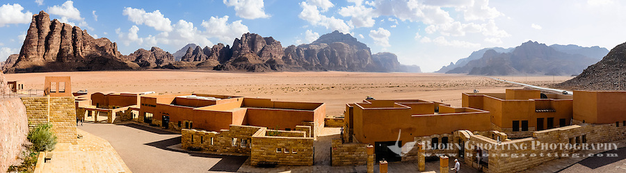 Jordan. Wadi Rum is also known as The Valley of the Moon. Panorama view including the Seven Pillars of Wisdom.