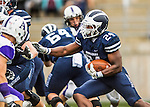 8 October 2016: Middlebury College Panther Running Back Diego Meritus, a Sophomore from Yarmouthport, MA, rushes for yardage against the Amherst College Purple & White at Alumni Stadium in Middlebury, Vermont. The Panthers edged out the Purple & While 27-26. Mandatory Credit: Ed Wolfstein Photo *** RAW (NEF) Image File Available ***