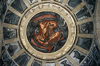 Man of Fire or El Hombre de Fuego mural by Jose Clemente Orozco painted on the dome of the Instituto Cultural de Cabanas, Guadalajara, Mexico. This former hospital (Hospicio Cabanas) was declared a UNESCO World Heritage site in 1997.
