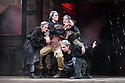 "London, UK. 22.06.2016.  Shakespeare's Globe presents ""Macbeth"", by William Shakespeare, directed by Iqbal Khan.  Picture shows: Terence Keeley (Bloody Captain), Nadia Albini (Wyrd Sister), Danielle Bird (Wyrd Sister), Scarlett Brookes (Wyrd Sister), Kerry Gooderson (Wyrd Sister).  Photograph © Jane Hobson."