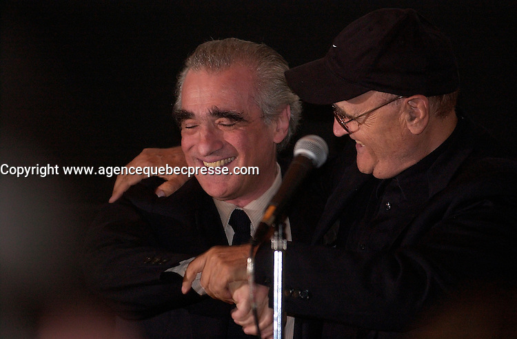 Sept 6 2003, Montreal, Quebec, CANADA<br /> <br /> Martin Scorcese (L ) joins Serge LOsique (R) , President World Film Festival before the screning of his movie MEAN STREET ast the 2003  Montreal World Film Festival<br /> <br /> Photo by Sevy - Images Distribution<br /> (c) 2003, Pierre Roussel