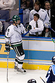 Justin Abdelkader (Michigan State - Muskegon, MI) celebrates with Robbie Mayer and Bobby Jarosz (Michigan State - Crystal Lake, IL). The Michigan State Spartans defeated the University of Maine Black Bears 4-2 in their 2007 Frozen Four semi-final on Thursday, April 5, 2007, at the Scottrade Center in St. Louis, Missouri.