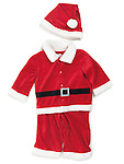 Red baby santa costume. Isolated outfit on white background.