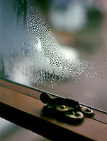 CONDENSATION OF WATER ON WINDOWPANE<br /> Water Vapor Changes To Droplets When Air Cools