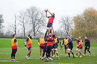 Josh Bayliss of Bath Rugby wins the ball at a lineout. Bath Rugby training session on November 22, 2016 at Farleigh House in Bath, England. Photo by: Patrick Khachfe / Onside Images