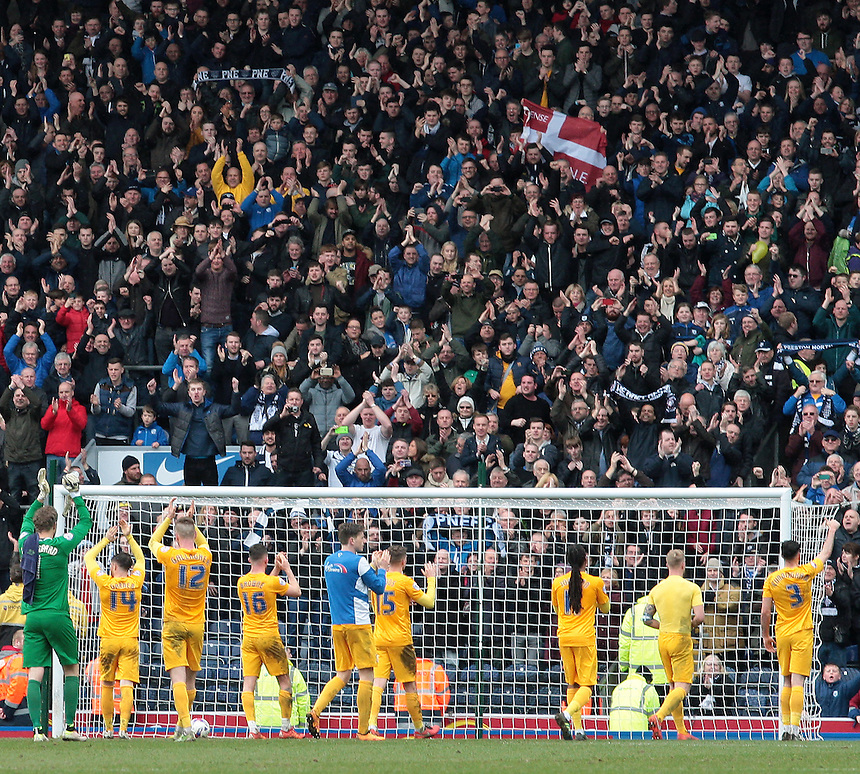 The Preston North End players thank the travelling fans for their support at the final whistle<br /> <br /> Photographer David shipman/CameraSport<br /> <br /> Football - The Football League Sky Bet Championship - Blackburn Rovers v Preston North End - Saturday 2nd April 2016 - Ewood Park - Blackburn<br /> <br /> &copy; CameraSport - 43 Linden Ave. Countesthorpe. Leicester. England. LE8 5PG - Tel: +44 (0) 116 277 4147 - admin@camerasport.com - www.camerasport.com