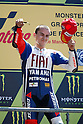 May 22, 2010 - Le Mans, France - Jorge Lorenzo celebrates on the podium after the MotoGP race of the French Grand Prix at le Mans circuit, France, on May 22, 2010. (Photo Andrew Northcott/Nippon News).