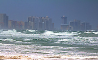 Heavy surf generated by Hurricane Irene is shown in fron of the Daytona Beach skyline as viewed from  Ponce Inlet, FL, Thursday, August 25, 2011.   (Photo by Brian Cleary/www.bcpix.com)