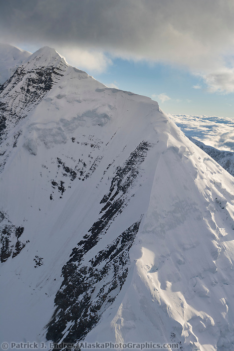 Aerial of mountain ridges in the Alaska range, Denali National Park, Alaska