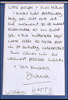 BNPS.co.uk (01202 558833)<br /> Pic: C&amp;T/BNPS<br /> <br /> A thoughtful letter from Princess Diana to a sergeant who put on a dazzling motorbike display for William's seventh birthday party has been unearthed.<br /> <br /> In the letter dated June 21, 1989, Diana thanks Sergeant George Plumb of the Metropolitan Police and the Special Escort Group who put on an elaborate show for the young princes and their friends in the grounds of Kensington Palace to mark William's special day.<br /> <br /> The letter, which is written on Kensington Palace headed paper, has been signed by William and Harry who would have been just four years old at the time.<br /> <br /> Retired police officer Sgt Plumb has decided to sell the letter after 28 years and it is tipped to sell for &pound;2,500.