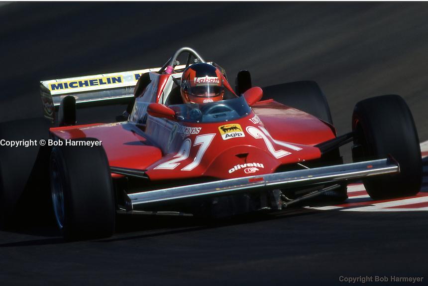 LAS VEGAS, NV - OCTOBER 17: Gilles Villeneuve drives the Ferrari F126CK 052/Ferrari 021 during practice for the 1981 Caesars Palace Grand Prix on October 17, 1981, at the Caesars Palace Hotel in Las Vegas, Nevada.