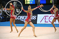 September 12, 2009; Mie, Japan;  (Center) Anzhelika Savrayuk and Italian rhythmic group performs during 5-hoops on way to winning gold in group All Around the day before at the 2009 World Championships Mie, Japan. Photo by Tom Theobald.