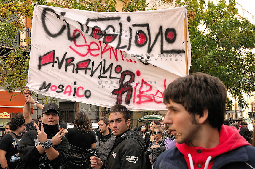 Il 30 novembre momento di picco della protesta degli studenti a Palermo.<br /> One of the moments of the students protest in Palermo against the reform of public school and university by Berlusconi government