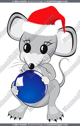 Little mouse cartoon character in a red christmas hat holding Christmas ornament Isolated on white background