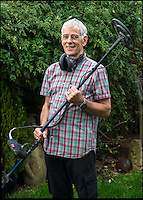 BNPS.co.uk (01202 558833)<br /> Pic: PhilYeomans/BNPS<br /> <br /> John with the metal detector he borrowed to find his wedding ring....<br /> <br /> Married John Tressider got the needle when he lost his wedding ring in a giant haystack - only to find it two weeks later using a metal detector.<br /> <br /> John, 68, from East Budleigh, Devon, had been helping out on his auntie's farm and was moving 200 large bales of straw when he noticed his gold Celtic band had come off his finger.<br /> <br /> After two separate 'needle in a haystack' searches for it he borrowed a friend's metal detector and finally found it close to the bottom of the 20ft tall stack.