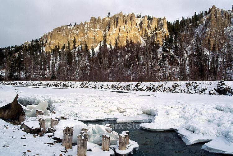 Hoodoos at Dutch Creek along Highway 93, near Fairmont Hot Springs, Canadian Rockies, BC, British Columbia, Canada, Winter