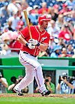 25 April 2010: Washington Nationals' first baseman Adam Dunn hits a sacrifice RBI in the first inning against the Los Angeles Dodgers at Nationals Park in Washington, DC. The Nationals shut out the Dodgers 1-0 to take the rubber match of their 3-game series. Mandatory Credit: Ed Wolfstein Photo