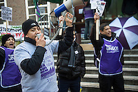 UNISON organised cleaners at SOAS University in London strike against their employers ISS demanding sick pay, holiday pay and a pension deal. 4-3-14