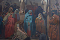 Mort du Christ or Death of Christ, detail of mourners including the Virgin Mary beneath the cross, by Emile Signol, 1804-92, oil on canvas, in the North transept of the church of Saint-Sulpice, built 1646-1870, in the 6th arrondissement of Paris, France. The painting was ordered by the City Council of Paris in 1868 and was subject to a first exhibition in Ecole des Beaux Arts (School of Fine Arts) in 1876. Picture by Manuel Cohen