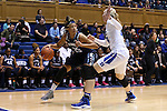 22 November 2016: Old Dominion's Jennie Simms (25) is defended by Duke's Erin Mathias (right). The Duke University Blue Devils hosted the Old Dominion University Monarchs at Cameron Indoor Stadium in Durham, North Carolina in a 2016-17 NCAA Division I Women's Basketball game. Duke won the game 92-64.