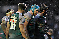 Graham Kitchener of Leicester Tigers looks to pack down for a scrum. Aviva Premiership match, between Leicester Tigers and Sale Sharks on February 6, 2016 at Welford Road in Leicester, England. Photo by: Patrick Khachfe / JMP