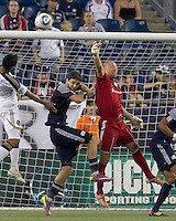 New England Revolution goalkeeper Matt Reis (1) punches out a corner kick. In a Major League Soccer (MLS) match, the Philadelphia Union defeated the New England Revolution, 3-0, at Gillette Stadium on July 17, 2011.