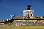 USA, Puerto Rico, San Juan. Lighthouse at El Morro Fort, a UNESCO World Heritage Site.