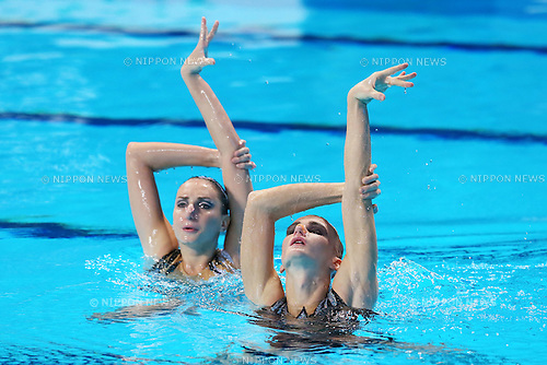 Aleksandr Maltsev & Darina Valitova (RUS), JULY 30, 2015 - Synchronised Swimming : 16th FINA World Championships Kazan 2015 Mixed Duets Free Routine Final at Kazan Arena in Kazan, Russia. (Photo by Yohei Osada/AFLO SPORT)