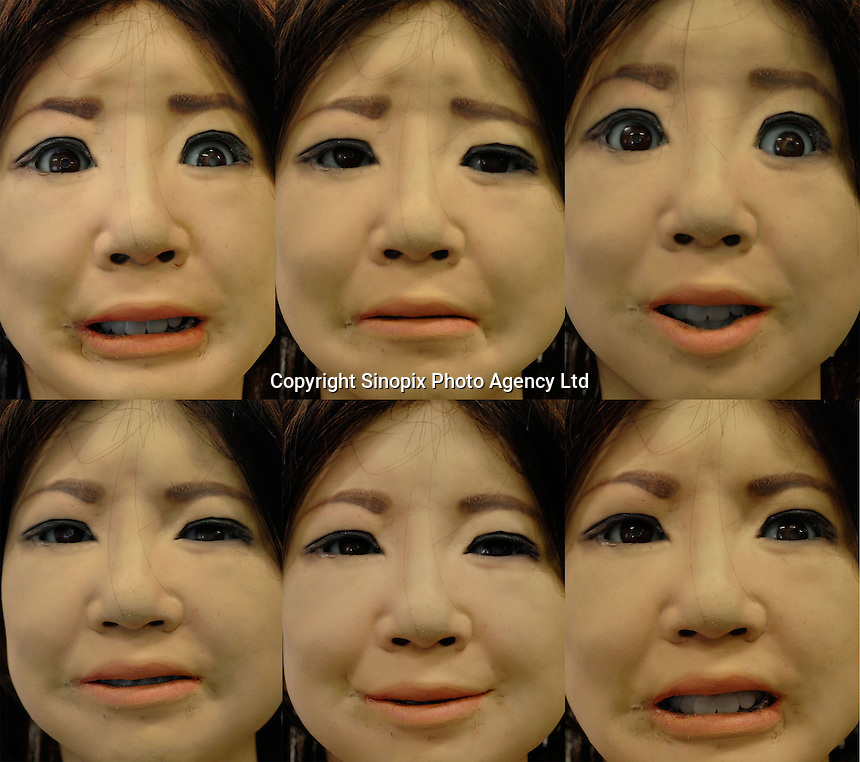 Different expressions of the SAYA receptionist robot (Surprise, Disgust, Happiness, Fear, Anger, Sadness) at the Administration Centre at Tokyo University of Science. The Saya secretary is able to talk and also change her facial expressions. She greets arivals at the office and responds to their words. Japan is at the forefront of developing robots that are able to assist humans in everyday tasks. In the world's most rapidly aging population it is accepted that robots will become part of every day life.