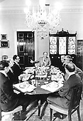 United States President Gerald R. Ford leads a bipartisan breakfast at the White House in Washington, D.C. on August 15, 1974.  Clockwise from President Ford: United States Senator Henry M. &quot;Scoop&quot; Jackson (Democrat of Washington); United States Senator Abraham Ribicoff (Democrat of Connecticut); Major General Brent Scowcroft, National Security Advisor; William Timmons, Legislative Aide to the President; United States Senator Jacob Javits (Republican of New York); and United States Secretary of State Henry Kissinger.<br /> Mandatory Credit: David Hume Kennerly / White House via CNP