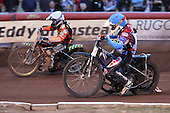Heat 11: Freddie Lindgren (white) and Stuart Robson - Lakeside Hammers vs Wolverhampton Wolves - Elite League Speedway at Arena Essex Raceway - 16/05/11 - MANDATORY CREDIT: Gavin Ellis/TGSPHOTO - Self billing applies where appropriate - Tel: 0845 094 6026