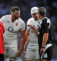 Referee John Lacey has a word with Tom Wood and Ben Morgan of England. QBE International match between England and France on August 15, 2015 at Twickenham Stadium in London, England. Photo by: Patrick Khachfe / Onside Images