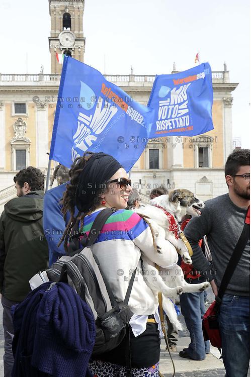 Roma, 2 aprile 2012.Piazza del Campidoglio.Manifestazione del forum dei movimenti per l'acqua pubblica contro la vendita di ACEA la privatizzazione dell'acqua.