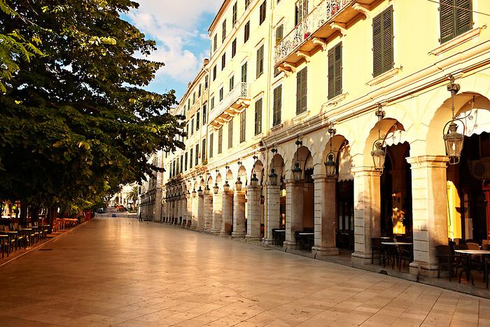 The French built Liston Esplanade  Cafes,  Kerkya, Corfu City, Greek Ionian Islands