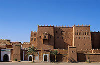 Intricate carvings on the exterior of a kasbah, Ouarzazate, Morocco.
